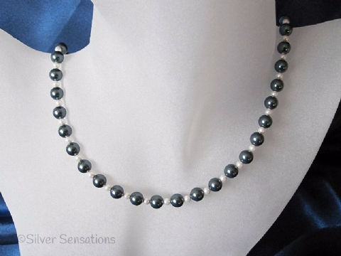 Grey Black Hematite & White Swarovski Pearls Sterling Silver Necklace
